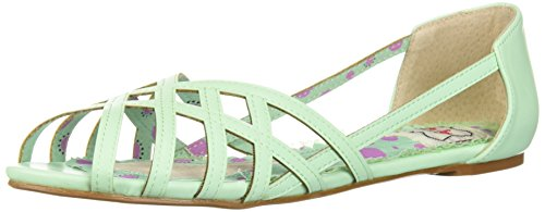 Bettie Page Women's BP100-CARREN Flat Sandal, Mint, 9 B - Vintage Sandals