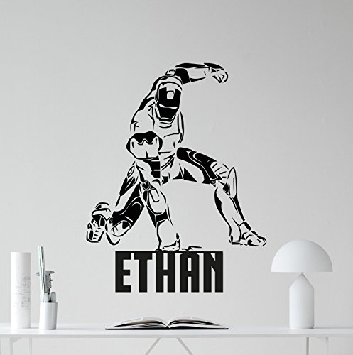 Personalized Iron Man Wall Decal Custom Name Superhero Aveng