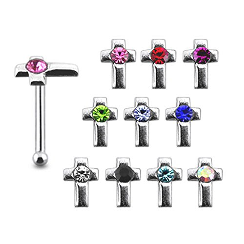 Pack of 5 Pieces Mix Color Jeweled Cross 925 Sterling Silver 20Gx1/4 (0.8x6MM) Ball End Nose Pin