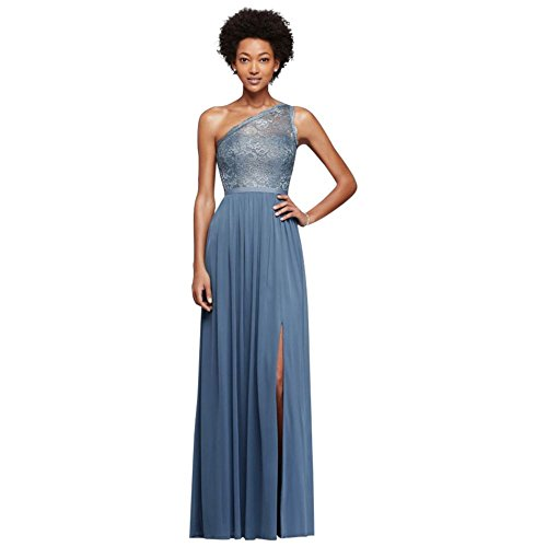 Long One Shoulder Lace Bridesmaid Dress Style F17063 Steel