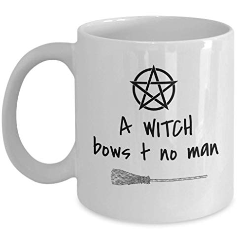 Wicca coffee mug - A Witch bows to no man - pagan Goddess pentagram coven Halloween witchcraft broomstick gifts - unique paganism esoteric 11oz ceramic tea cup gift