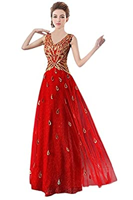 MissFay Women's Formal Long V-Neck Sleeveless Applique Peacock Prom Evening Dress