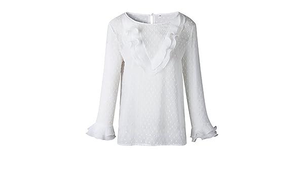 Camisas Camiseta Elegante de Mujer, Casual Encaje Polka Dot O ...