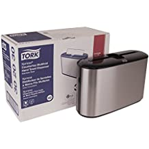 "Tork 302030 Xpress Countertop Multifold Hand Towel Dispenser, Plastic, 7.92"" Height x 12.68"" Width x 4.56"" Depth, Stainless Steel, Use with Tork MB550A, MB640, MB540A, H2/H23"