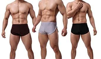 Banana Bucket Men's Split Side Sexy Breathable Boxer Underwear 3-Pack Black+Coffe+Grey Waistline 26-30 inches