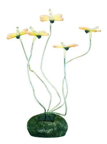 Outdoor Solar Garden Rock Lights 5 Butterfly LEDs-Dragonflies by swcloseouts