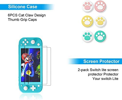 Switch Lite Accessories Bundle equipment - Case & Screen Protector for Nintendo Switch Lite Console, Table Stand, Games Holder, TPU Grip Case, 6 pcs Cult Cat Thumb-Grip & More (Hestia Goods Gift Pack)