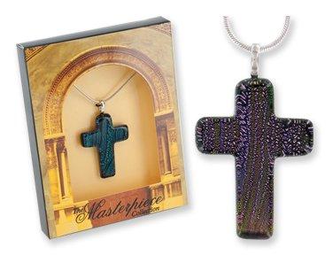 - Dichroic Glass Cross Pendant Gift Boxed