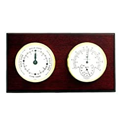 Bey-Berk WS220 Tide Clock and Thermometer with Hygrometer on Mahogany Wood with Brass Bezel. Wall Mounts Vertically or Horizontally. Brown