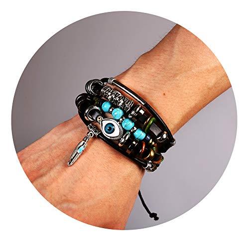(77Fine Evil Eye Turquoise Bead Bracelet Leather Boho Wrap Bracelets Braided Handmade Adjustable Cuff for Men Women)