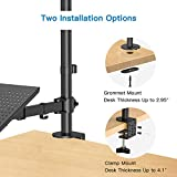 "Laptop Monitor Stand with Keyboard Tray, Adjustable Desk Mount Laptop Holder with Clamp and Grommet Mounting Base for 13 to 27 Inch LCD Computer Screens Up to 22lbs, Notebook up to 15.6"", Black"