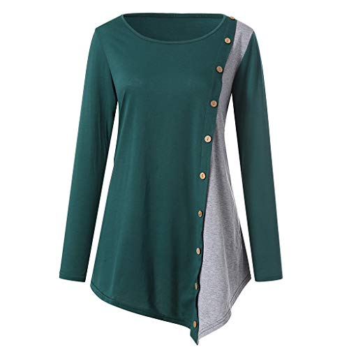 Witspace Womens Long Sleeve Color Block Blouse Casual Tunic Tops GN/XL Green ()