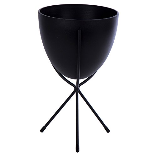 CTG, Bullet Planter with Stand, 6.75 x 10.5 inches, Black