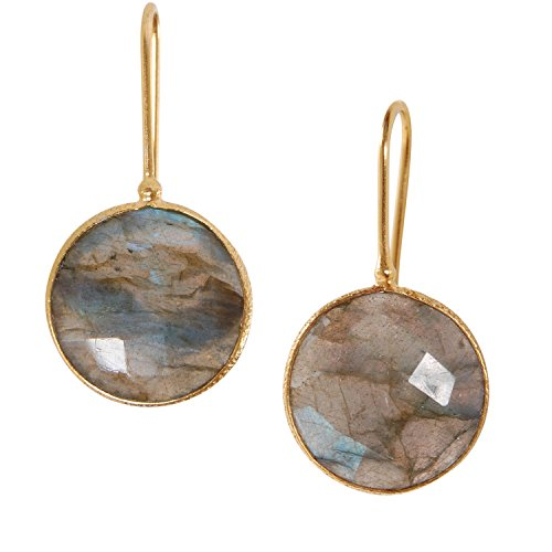 Humble Chic Natural Labradorite Gemstone Threader Dangle Earrings in 14k Gold-Plated 925 Sterling Silver, Labradorite, Grey, Blue, Green, Brown, Hypoallergenic (9ct Gold Setting)