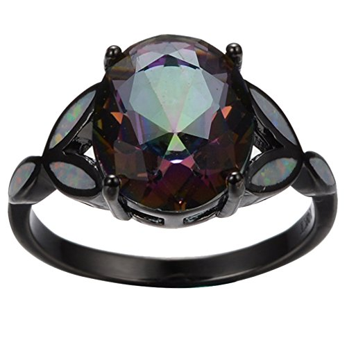 Dead Or Alive 6 Costumes (AYT Bright Opal Stone 14KT Black Gold Filled Mysterious Zircon Finger Ring Size 6/7/8/9 Fashion Jewelry Wedding Ring anillo 6.0)