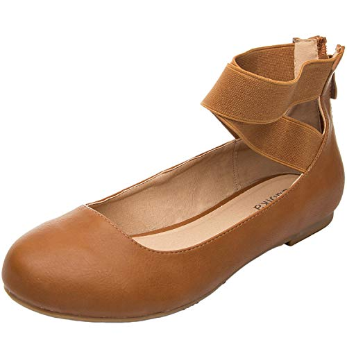 Luoika Women's Wide Width Flat Shoes - Elastic Cross Straps Slip On Round Toe Ballet Flats.(180302,Brown PU,size8.5)