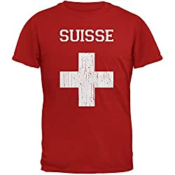 World Cup Distressed Flag Suisse Red Adult T-Shirt