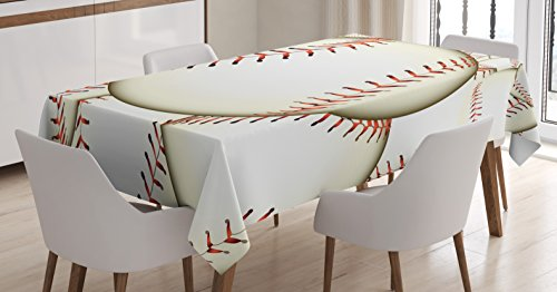 Sports Decor Tablecloth by Ambesonne, Pattern of Baseball Ba