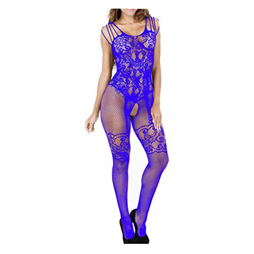 - ManxiVoo Christmas Sexy Underwear Lace Floral Lingerie Babydoll Sleepwear Sheer Chemise Nightwear Sexy Stockings (L, Blue)