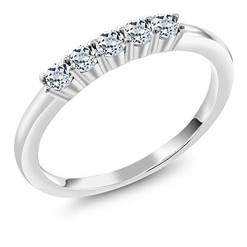 0.40 Ct Round White Topaz 925 Sterling Silver Five Stone Anniversary Wedding Band ()