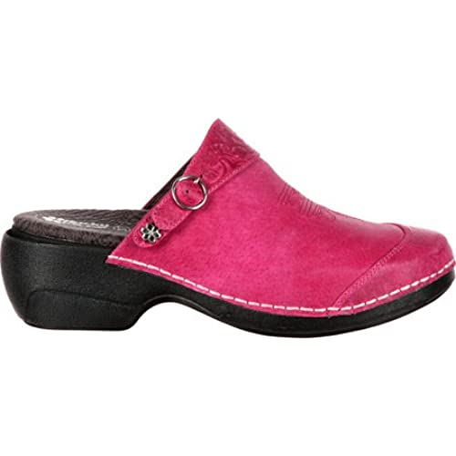 best 4EurSole Women's Western Embellished Leather Clog RKYH035,Magenta  Leather,EU 41