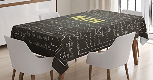 Mathematics Classroom Decor Tablecloth by Ambesonne, Dark Blackboard Word Math Equations Geometry Axis, Dining Room Kitchen Rectangular Table Cover, 52 W X 70 L Inches, Dark Brown White Yellow