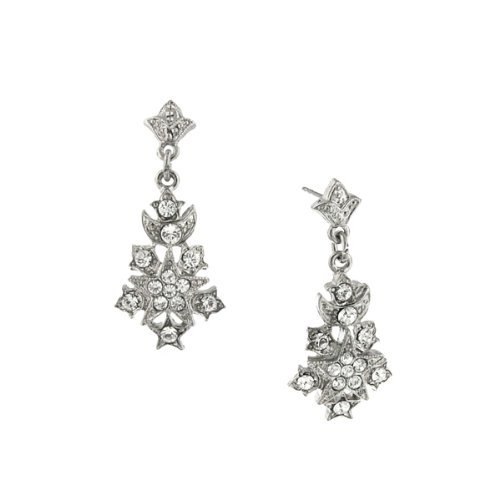 Downton Abbey Silver-Tone Pave Crystal Starburst Drop Earrings by Downton Abbey