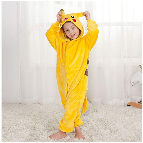 GERGER BO Pikachu Costume Kids,Pikachu Pajamas Flannel Cosplay Costume Sleepwear Nightgown