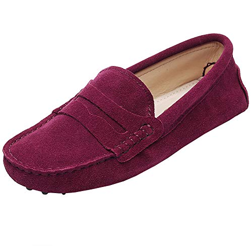 Burgundy Leather Loafers Shoes - rismart Women's Classic Suede Driving Loafers Shoes Soft Leather Moccasin Slippers Burgundy 24208 US11