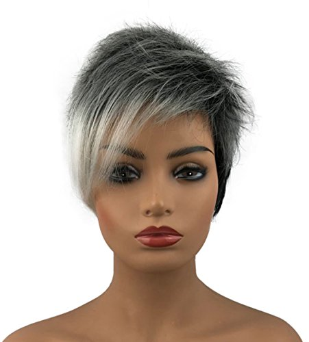 Wiginway 6'' Short Straight Wig for Women Ombre Gray Black Wigs Side Bangs Layered Punk Nightclub Party Wigs for $<!--$20.99-->