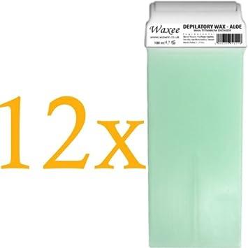 Aloe Vera Warm Soft Wax, 100ml roller, roll-on wax cartridge (12 x 100ml roll-on wax cartridge) Waxee