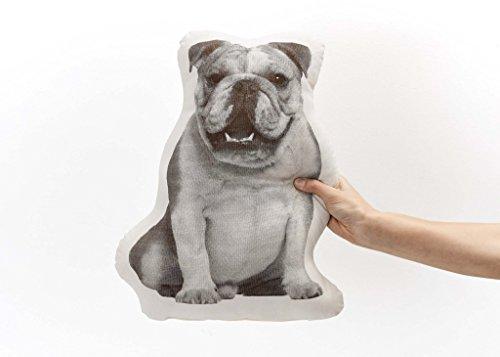 Designer Pillow Dog (Areaware Fauna English Bulldog Pillow, Black/White)
