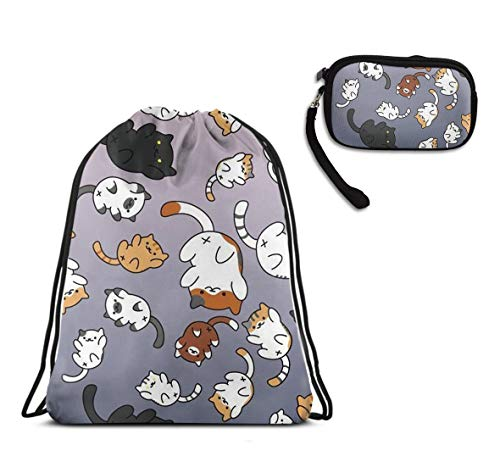 Funny Corgi Dogs Drawstring Sack School Travel Rucksack, Waterproof Tote Cinch Sack Large Size Backpack With Clutch Travel Purse Coin Cash Purse Birthday -
