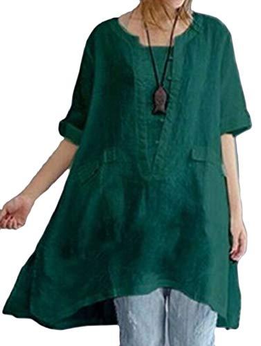 Jaycargogo Coton Col Rond Pour Femmes Chemises Manches Menottées Robe Verte
