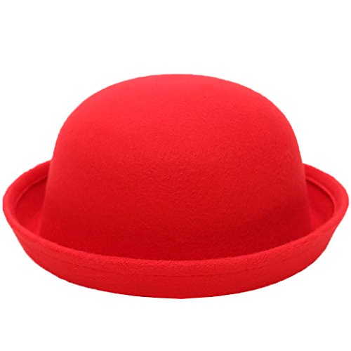 Lujuny Classic Wool Round Bowler Hats - Trendy Derby Fedora Bucket Caps with Roll-up Brim for Youth Girl Petite Women (Red)]()