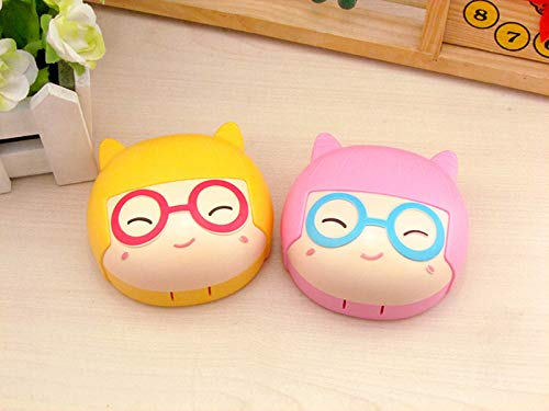 Cute Cartoon Contact Lens case Eye Care Kit scatola lenti a contatto scatola (colore casuale) WEILIVE