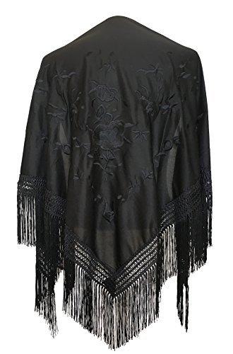 La Senorita Spanish Flamenco Dance Shawl black with black flowers size L (Spanish Dance Flamenco)