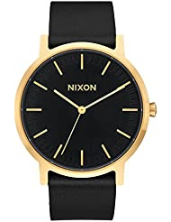 Nixon Mens Porter Quartz Stainless Steel and Leather Casual Watch, Color:Gold-Toned (Model: A1058513)