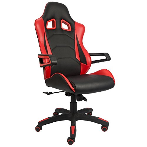 Devoko Gaming Chair Racing Style Bucket Seat Premium PU Leather Chair Swivel Executive Office Chair Lumbar Support Desk Chair (Red)