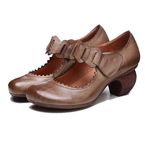 ZPEDY Rétro Chaussures Portable en Tendance Mesdames Cuir Charredkhaki Haut Confortable Talon rnIqwrpx
