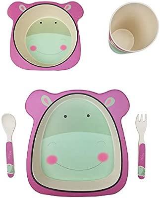 profesional vajilla Infantil Bebe de bambú 5 Piezas cubertería para niños Vaso de Beber Plato para niños Reciclaje de Material Natural-hipopótamo