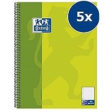 Hamelin 384508027 Oxford - Lote de cuadernos (5 unidades, A5, con espiral, lineado 9 mm, 80 páginas, 90 g/m², verde)