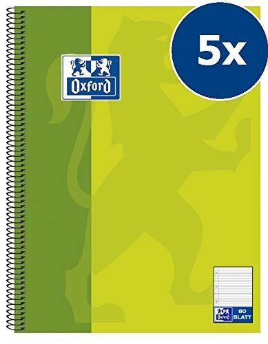 a quadretti con bordo 10 pezzi gelb A4 Oxford quaderno scolastico forato 80 pagine Tipo 26