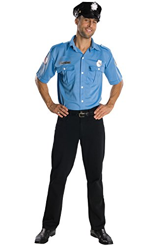 Mens Sexy Cop Costume - Rubie's Heroes And Hombres Adult Police Officer Shirt And Hat, Blue, Standard