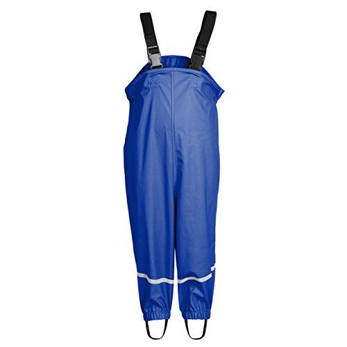 smileBaby wasserdichte Kinder Regenlatzhose mit verstellbaren Trägern und Schuhschlaufen Unisex in Blau 92