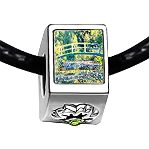 Chicforest Silver Plated Bridge At Giverny Photo Peridot Crystal August Birthstone Flower Charm Beads Fits Pandora Bracelets