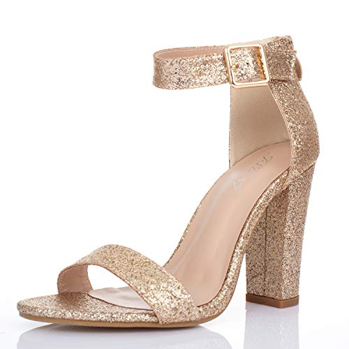 JSUN7 Women's Chunky High Heel Sandals 1920s Gatsby Sparkling Extra Wide Ankle Strap with Buckle Open Toe Fashion Dress Party Wedding Shoes for Women Rose Gold]()