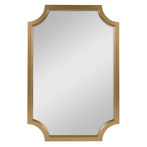 Gold Scalloped - Kate and Laurel Hogan Scallop Corners Wood Framed Mirror, 24 x 36, Gold
