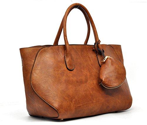 IN pelle tinta bauletto Spalla marrone tracolla in 3 shopping in MADE grigio Borsa unica 1 ITALY 5wBS5Cq