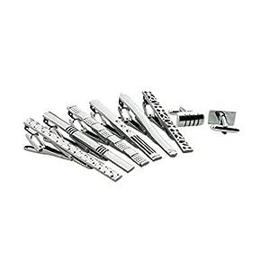 6pc Mens Fashion Neckie Tie Clips Bar Set & 2pc Cufflinks (TP-03), By Zakka Republic